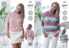 Load image into Gallery viewer, http://images.esellerpro.com/2278/I/136/650/king-cole-ladies-womens-opium-knitting-pattern-short-long-sleeved-sweaters-4825.jpg