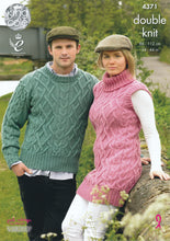 Load image into Gallery viewer, http://images.esellerpro.com/2278/I/119/346/king-cole-merino-dk-double-knit-knitting-pattern-ladies-mens-tunic-sweater-4371.jpg