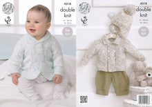 Load image into Gallery viewer, http://images.esellerpro.com/2278/I/119/185/king-cole-smarty-double-knitting-dk-baby-shawl-flat-collar-jacket-hats-4318.jpg