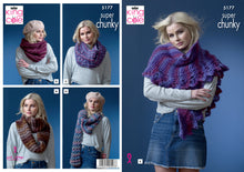 Load image into Gallery viewer, http://images.esellerpro.com/2278/I/164/303/king-cole-super-chunky-knitting-pattern-ladies-snoods-shawls-5177.jpg