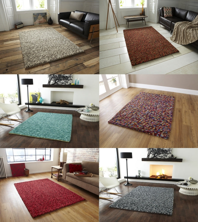 Pebble Effect Hand Knotted 100 Wool Rug Various Colours