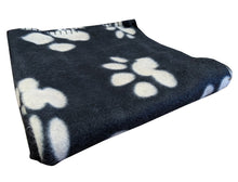 Load image into Gallery viewer, http://images.esellerpro.com/2278/I/187/203/pet-paws-paw-print-polar-fleece-puppy-dog-blanket-black.jpg