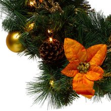 Load image into Gallery viewer, http://images.esellerpro.com/2278/I/146/407/pre-lit-decorated-festive-xmas-christmas-wreath-gold-close-up.jpg
