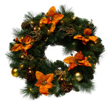 Load image into Gallery viewer, http://images.esellerpro.com/2278/I/146/407/pre-lit-decorated-festive-xmas-christmas-wreath-gold.jpg