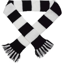 Load image into Gallery viewer, http://images.esellerpro.com/2278/I/113/387/striped-football-sports-scarf-black-white.jpg