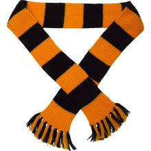 Load image into Gallery viewer, http://images.esellerpro.com/2278/I/113/387/striped-football-sports-scarf-gold-black.jpg