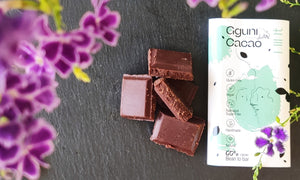 Chocolate with Mint, sweetened with dates. 30 g. Suitable for vegans.
