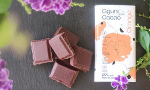 Chocolate with Orange Peel, sweetened with dates. 30 g. Suitable for vegans