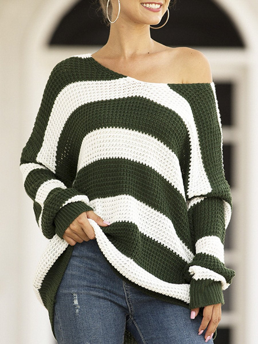 Women Striped Sweater Pullovers Winter 2019 Loose