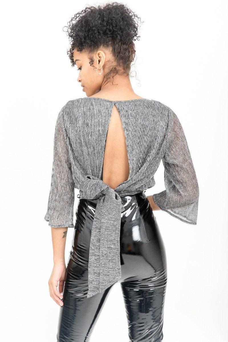 Silver Shimmer Open Back Crop Top