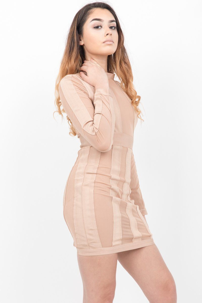 Tan Stripe High Neck Bandage Dress