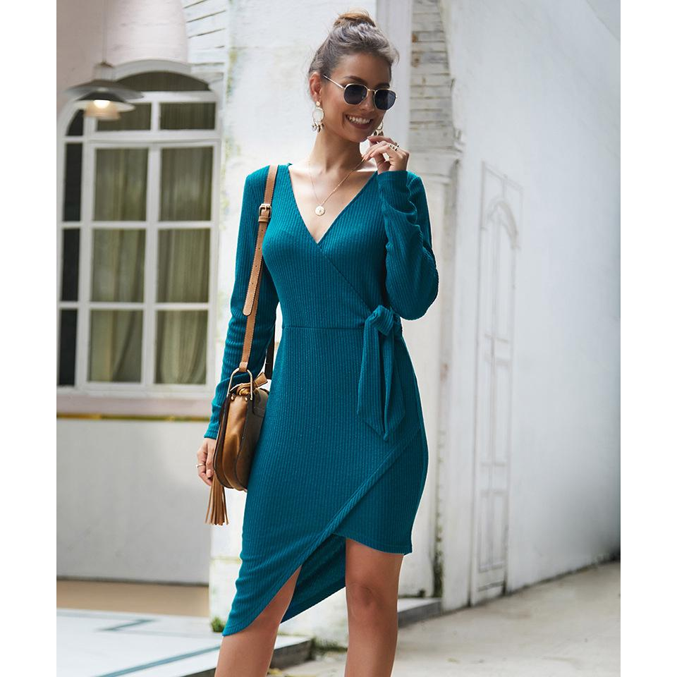V-neck Autumn Winter Sexy Knitted Dress