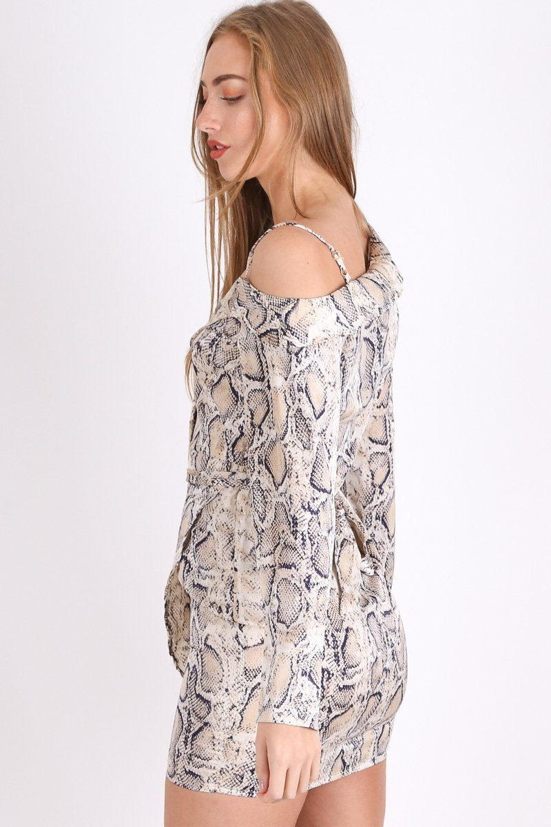 Cream One Shoulder Snake Print Wrap Dress