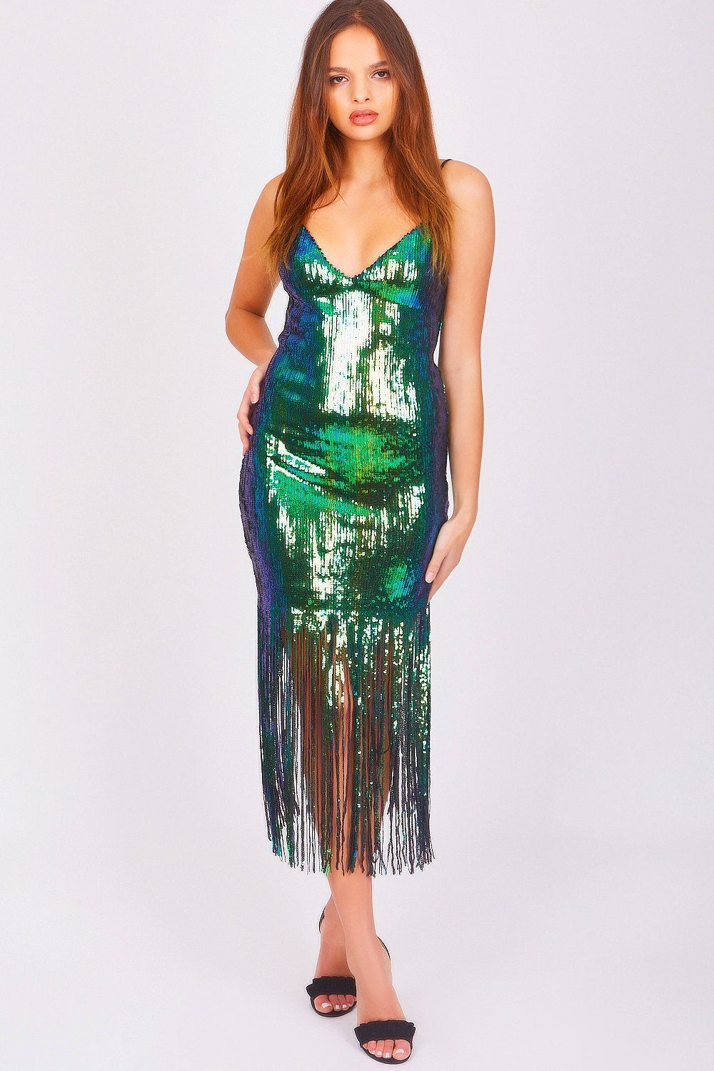 Green Mermaid Sequin Fringe Midi Dress