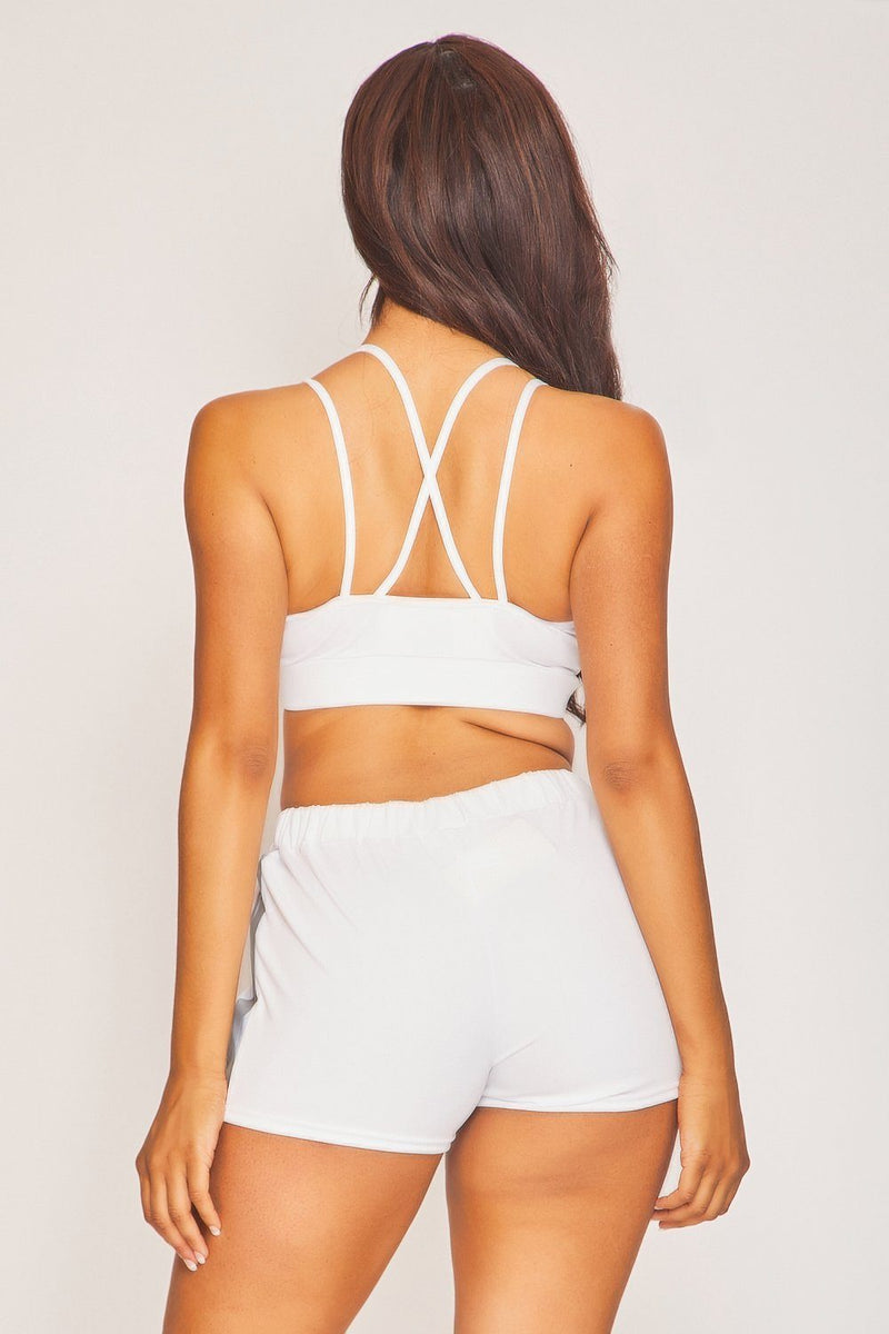 White Reflective Panel Sports Bra