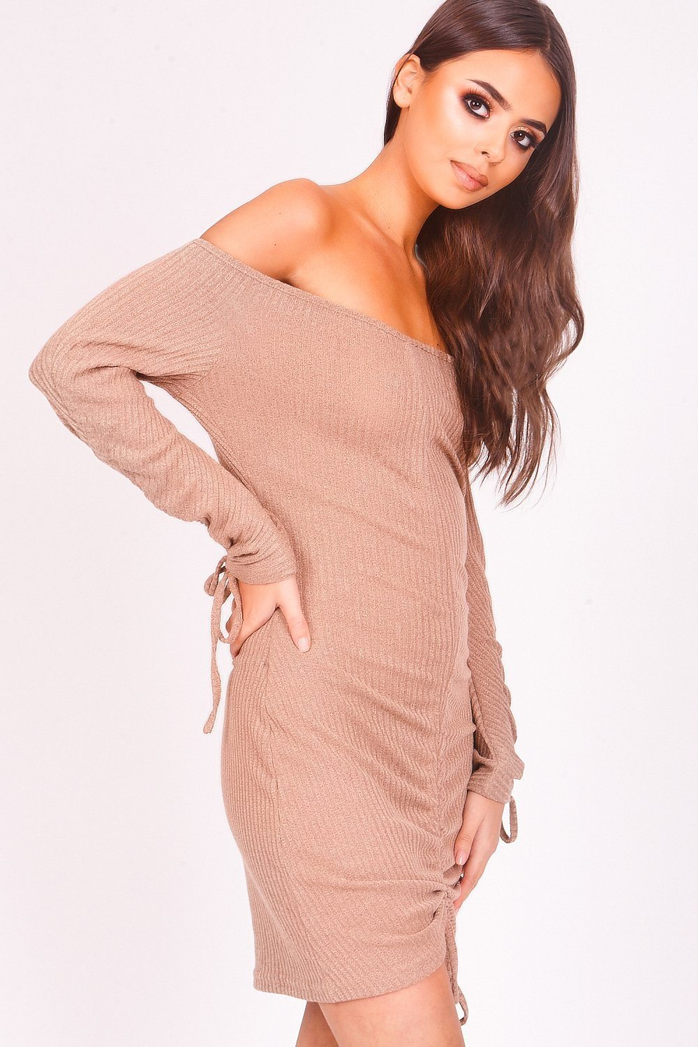 Beige Ribbed Ruched Bardot Dress