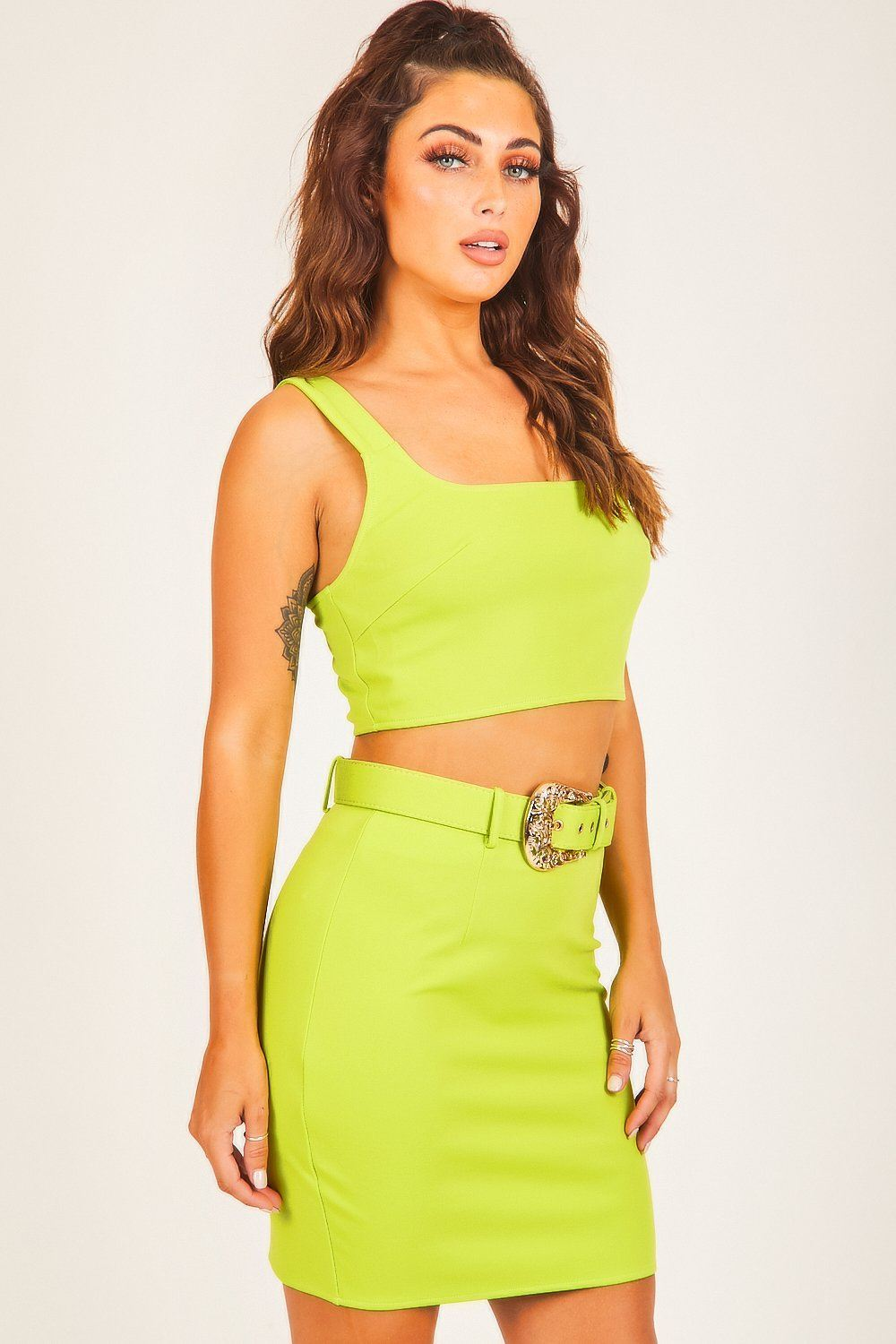 Neon Green Square Neck Crop Top