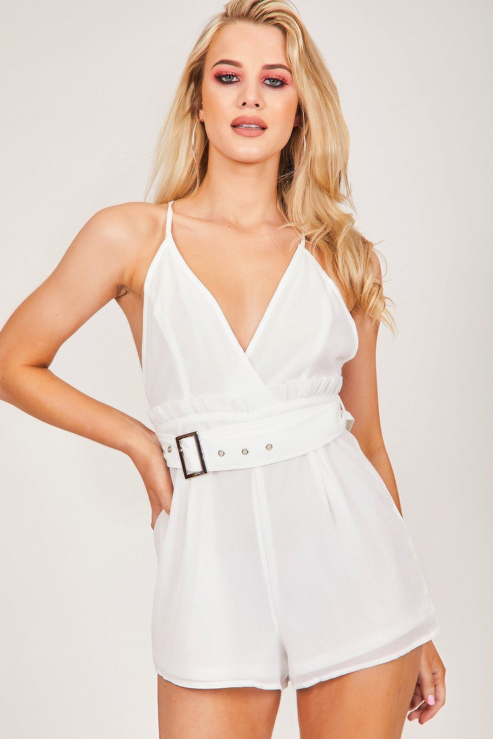 White Plunge Belted Playsuit