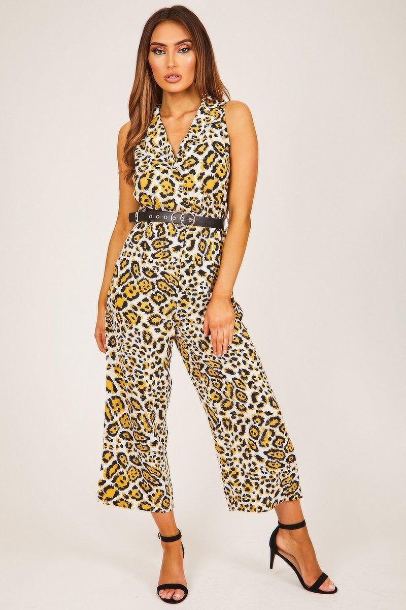 White & Yellow Leopard Print Jumpsuit