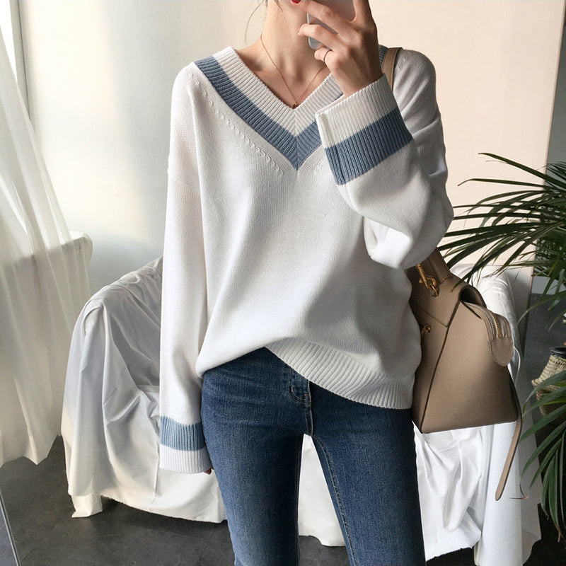 V neck Women Sweater Casual Winter Long