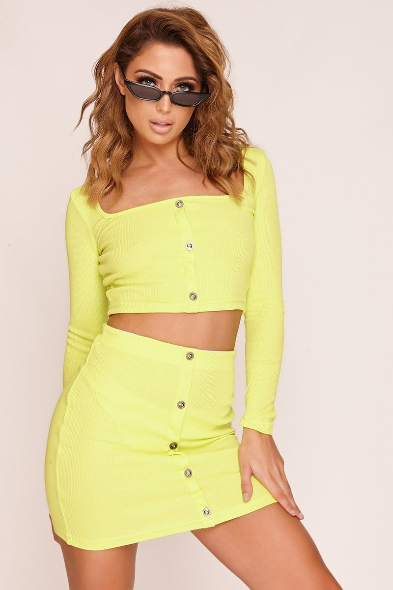 Neon Green Button Up Ribbed Top