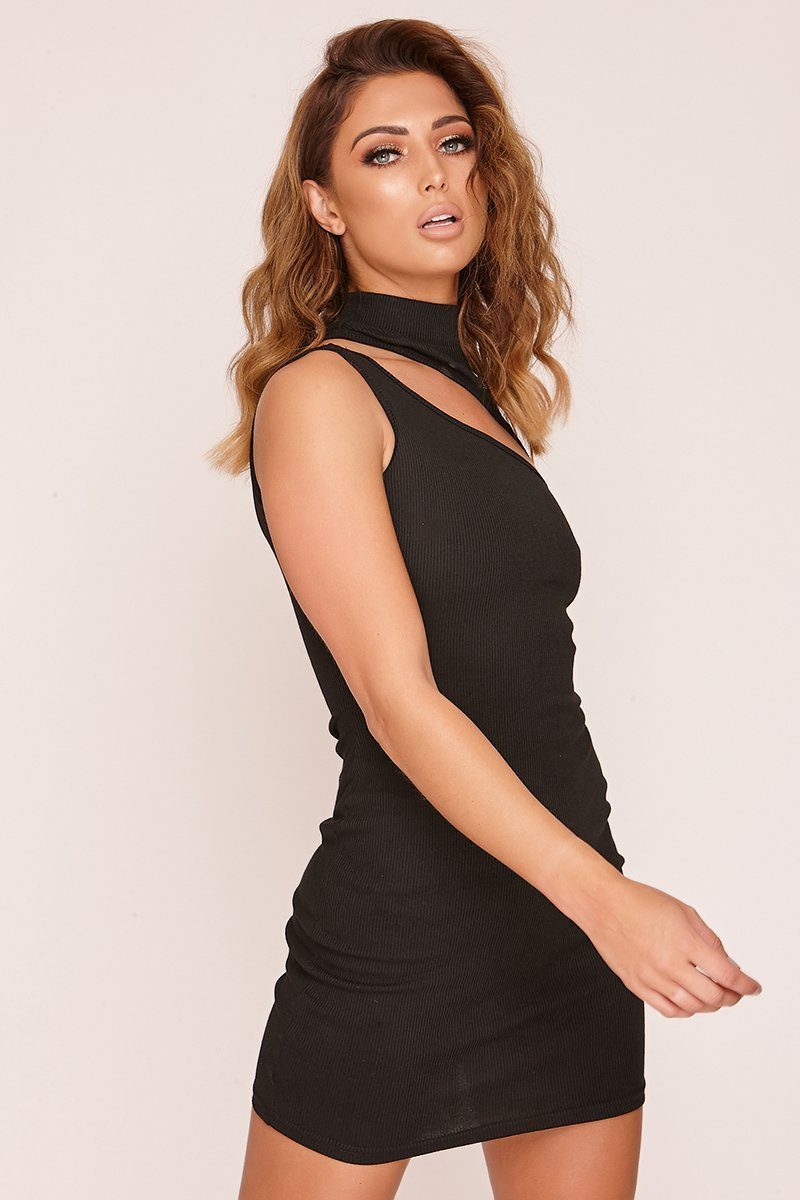 Black Cut Out Ribbed High Neck Dress