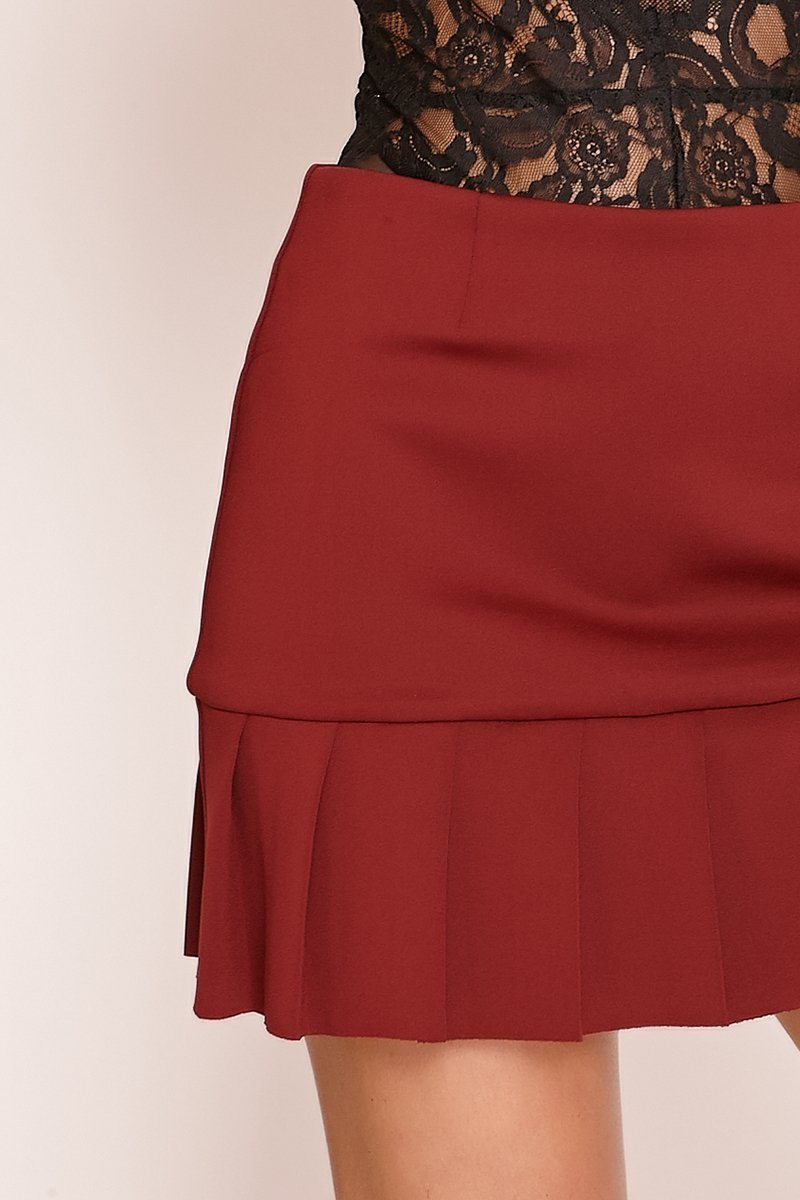 Red Pleated Hem Mini Skirt