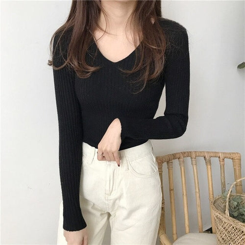 Winter Knitted Women V Neck Solid Sweet Standard