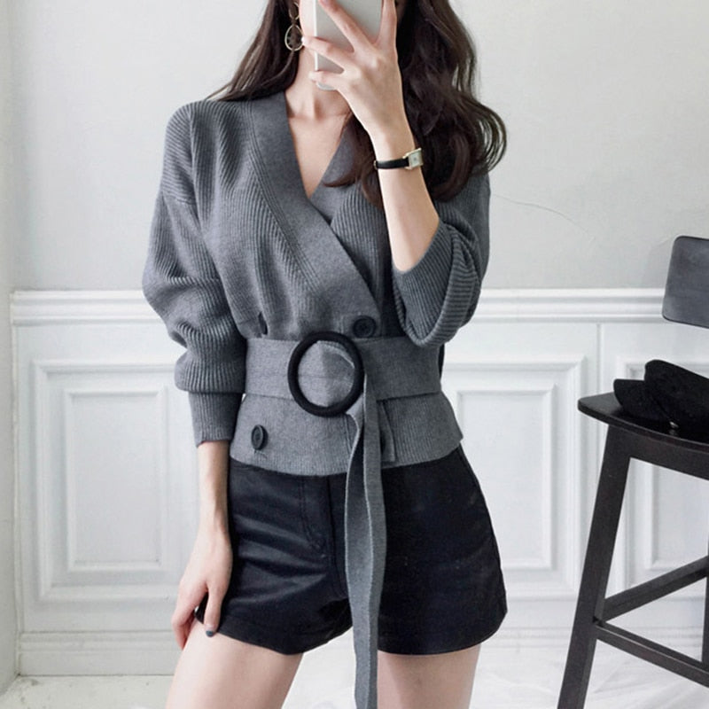 Women Cardigans Sweater V Neck