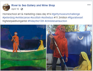 "Homeschool art & marketing class day #14 - Peter Doig ""Spear Fishing"""