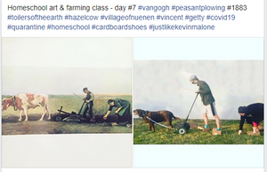 "Homeschool Art & Farming Class - Day #7 - Van Gogh ""Peasant Plowing"" 1883"