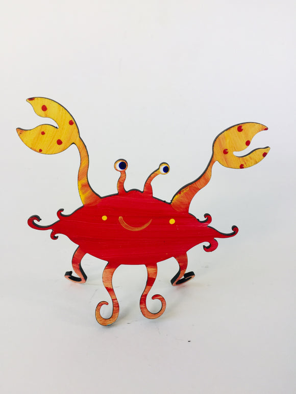 Crab Free Standing Sculpture - hand painted & functional