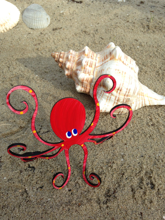 Octopus Free Standing Sculpture - Handpainted & functional - SMALL