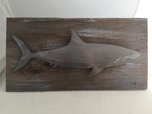 Brushed Steel Shark on Weathered Board