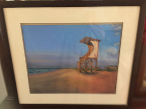 """Lifeguard #12"" oil pastels on board - framed - by Nancy Carter"
