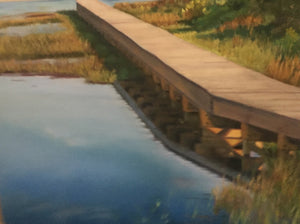 """Marsh Walk"" oil pastels on board - framed - by Nancy Carter"