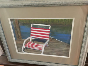"""Red & White Beach Chair"" oil pastels on board - framed - by Nancy Carter"