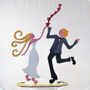 Happy Wedding - Hand Painted Steel Sculpture