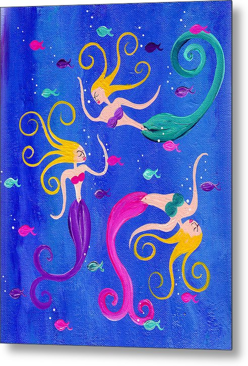 Blowing Bubbles Mermaids - Metal Print