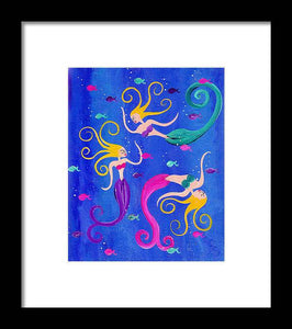 Blowing Bubbles Mermaids - Framed Print