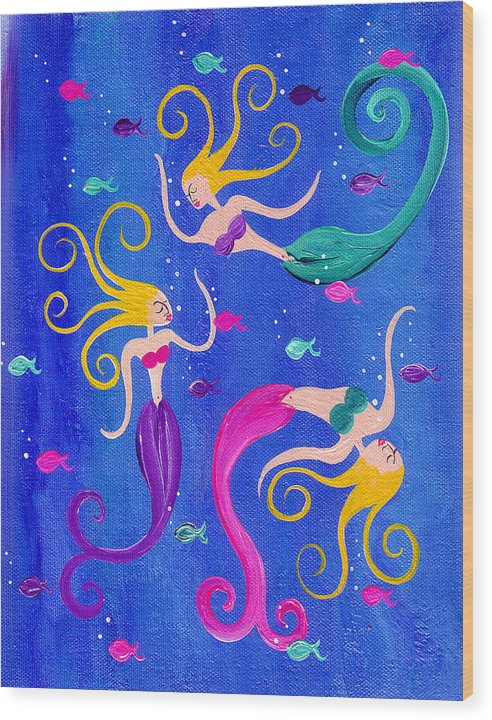 Blowing Bubbles Mermaids - Wood Print