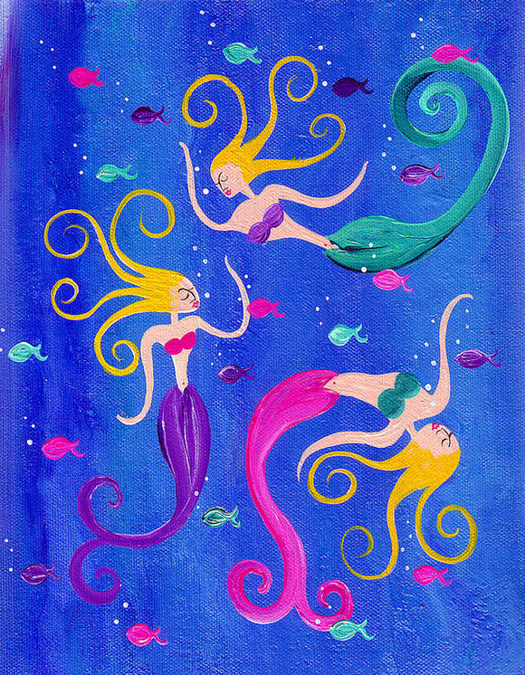 Blowing Bubbles Mermaids - Art Print