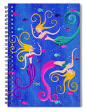 Blowing Bubbles Mermaids - Spiral Notebook
