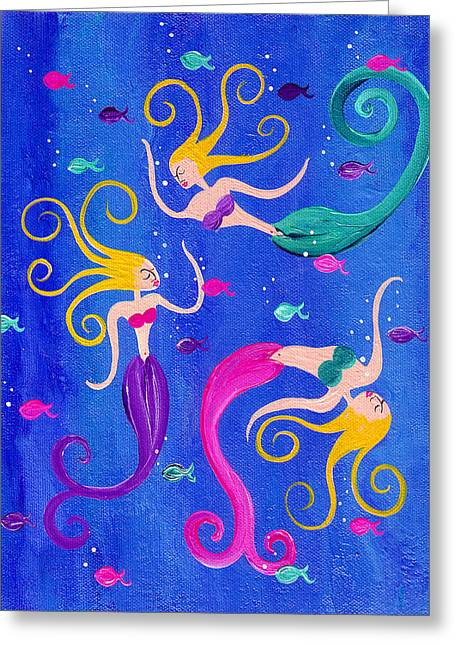 Blowing Bubbles Mermaids - Greeting Card