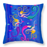 Blowing Bubbles Mermaids - Throw Pillow