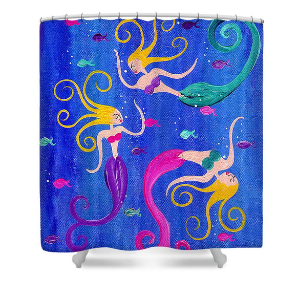 Blowing Bubbles Mermaids - Shower Curtain