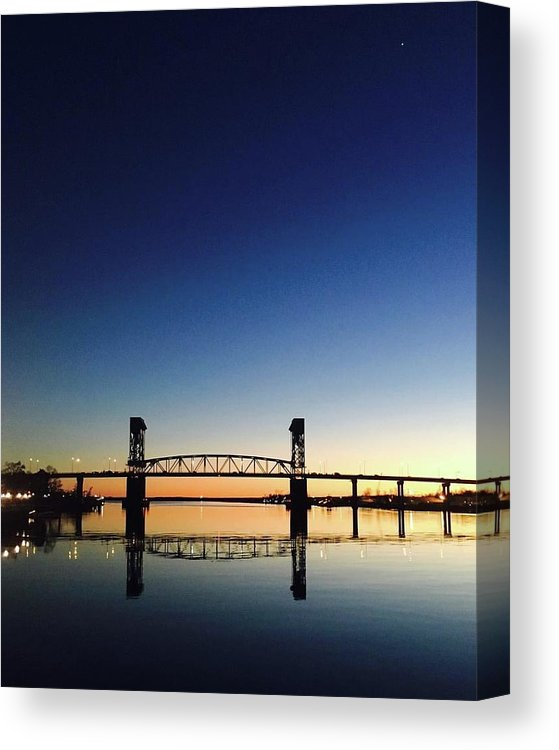 Cape Fear River at sunset with big blue sky - Canvas Print