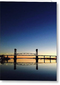 Cape Fear River at sunset with big blue sky - Greeting Card