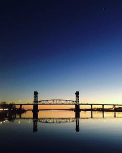 Cape Fear River at sunset with big blue sky - Art Print