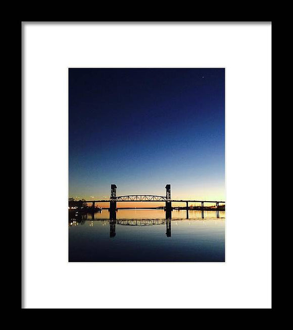 Cape Fear River at sunset with big blue sky - Framed Print